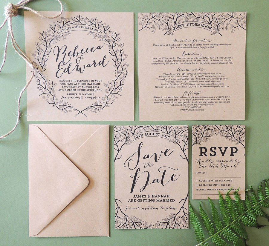 Enchanted Forest Kraft Wedding Invitation Enchanted Weddings