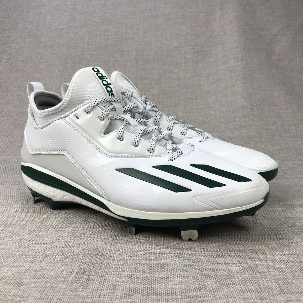 factory price 8bc14 f1e1b Adidas Mens Sz 11.5 Baseball Cleats White Green Metal Lace Up Sportswear   adidas