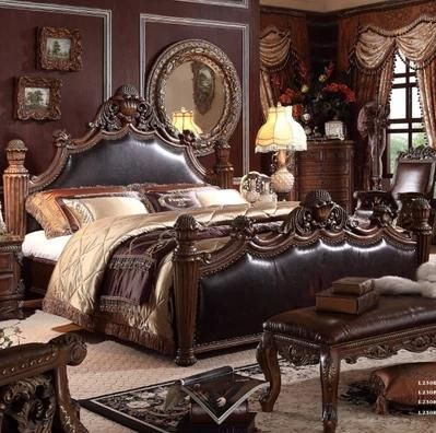 Luxury Antique Neoclassical French Style Leather Beds