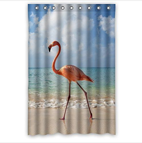 Pink Flamingo Designlove Heart Flamingos Pattern 100 Polyester Shower Curtain 48