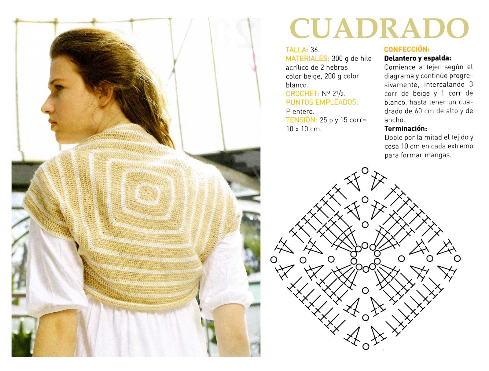 Chaleco Cuadrado de Crochet Patron - Patrones Crochet | Boleros ...