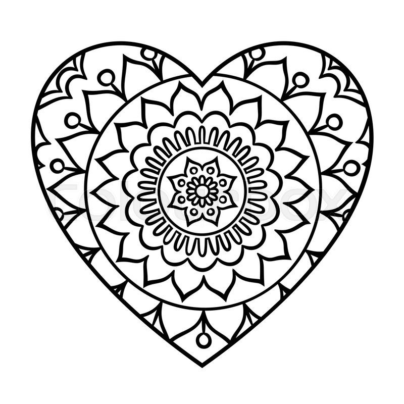 Heart Mandala Doodle Heart Mandala Coloring Page Outline Floral Design Element Heart Coloring Pages Heart Doodle Mandala Coloring Pages
