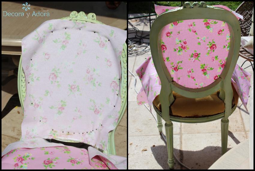 Decora y adora diy tapizar silla vintage diy pal - Telas tapizar sofas ...