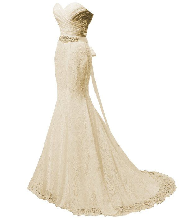 00cc4fb5a39f0 Solovedress Women's Lace Wedding Dress Mermaid Evening Dress Bridal Gown  with Sash (US 0, Champagne)