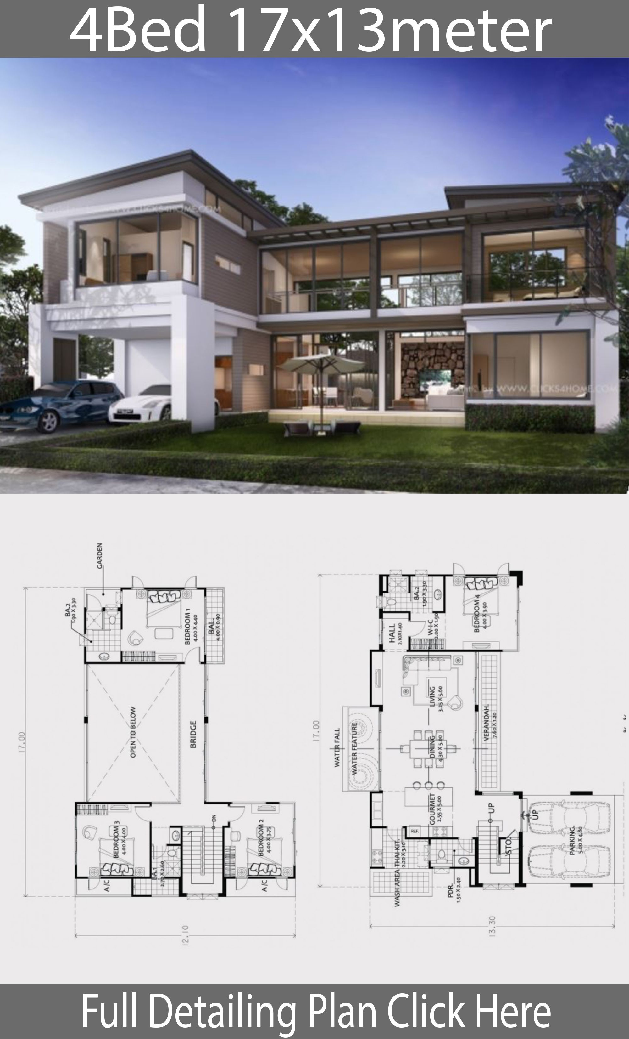Home Design Plan 17x13m With 4 Bedroom House Idea In 2020 Beautiful House Plans Model House Plan Modern House Floor Plans