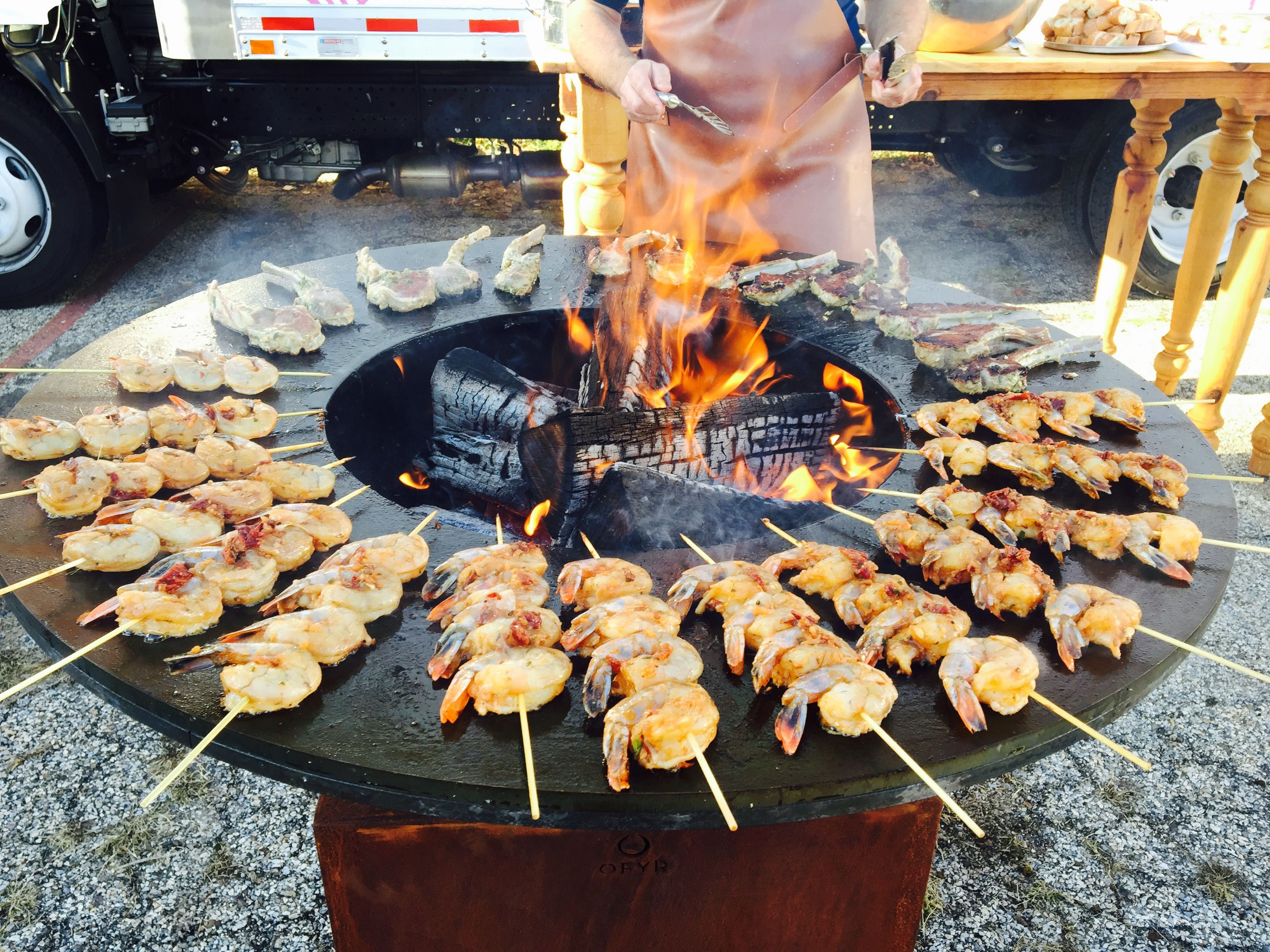 shrimp and lamb chops on the vision furniture ofyr grill from our