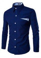 Camisa Casual Fashion Elegante - em Cor Sólido - em Azul Escuro, Branco e Azul Claro