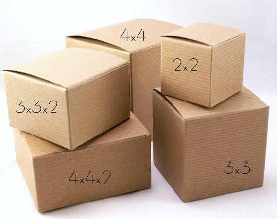 2 X 2 X 2 Set Of 15 Gift Boxes Pinstripe Kraft Brown One Piece