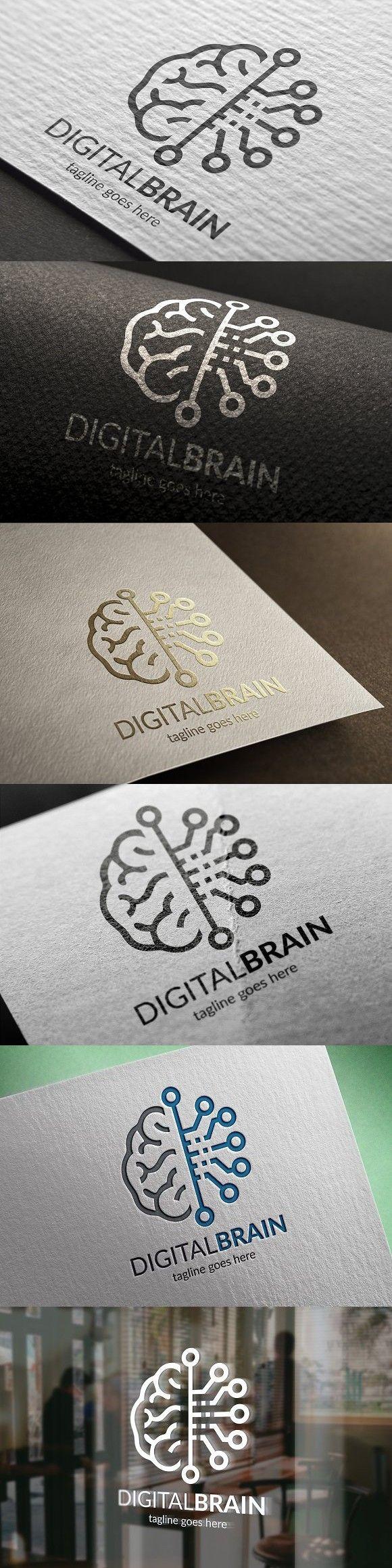 Digital Brain Logo Brain logo, Web graphic design, Human