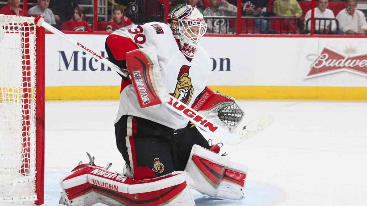 2015: Andrew Hammond makes 35 saves in the Ottawa Senators' 2-1 overtime win against the Carolina Hurricanes. Hammond improves to 11-0-1 since making his first NHL start on Feb. 18, becoming the second goaltender in NHL history to allow two or fewer goals in each of his first 12 career starts. He equals the mark set by Boston's Frank Brimsek in 1938-39.
