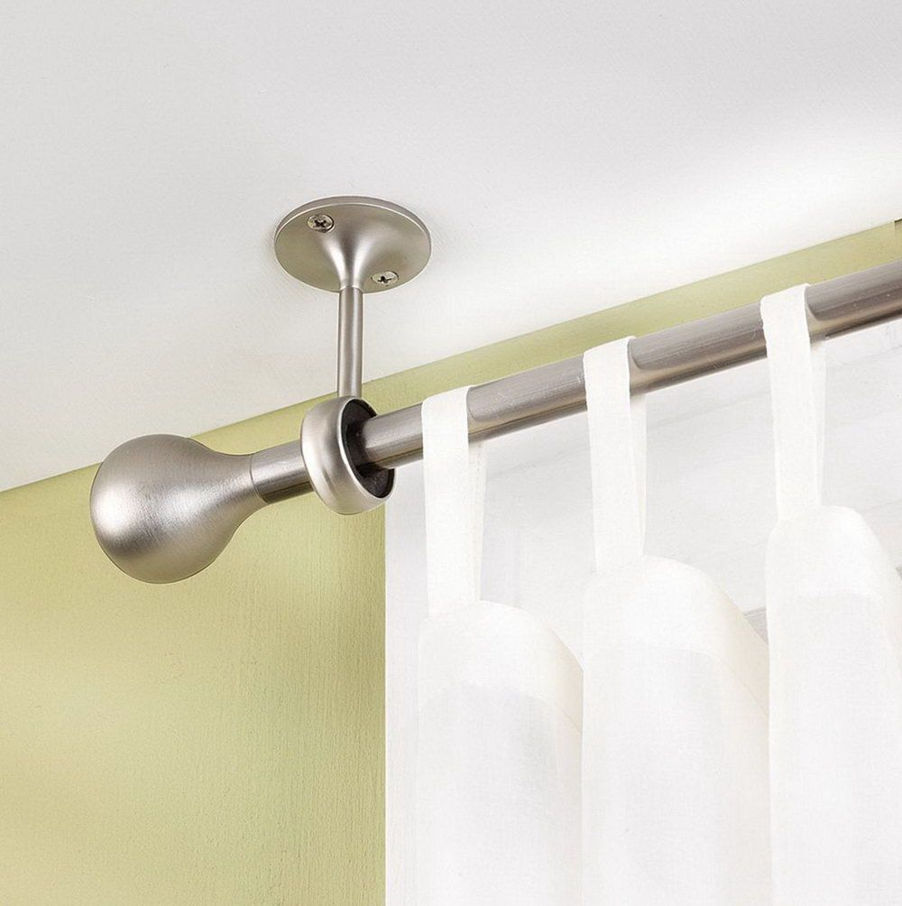 Shower Curtain And Ceiling Mount Rods Bracket Also Finials With Interior Paint Color For