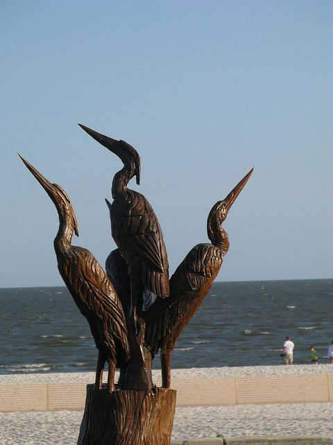 Ms gulf coast carvings from live oak trees destroyed