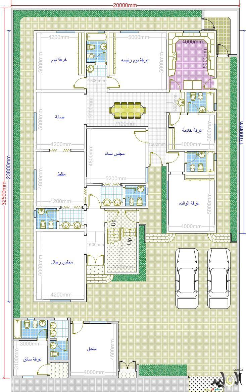 تصميم فلل دورين مخطط فيلات دورين منفصلة خرائط هندسية فلل التصاميم الهندسية الفلل Square House Plans Family House Plans 10 Marla House Plan