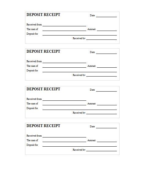 Receipt For Deposit Of Dog Template