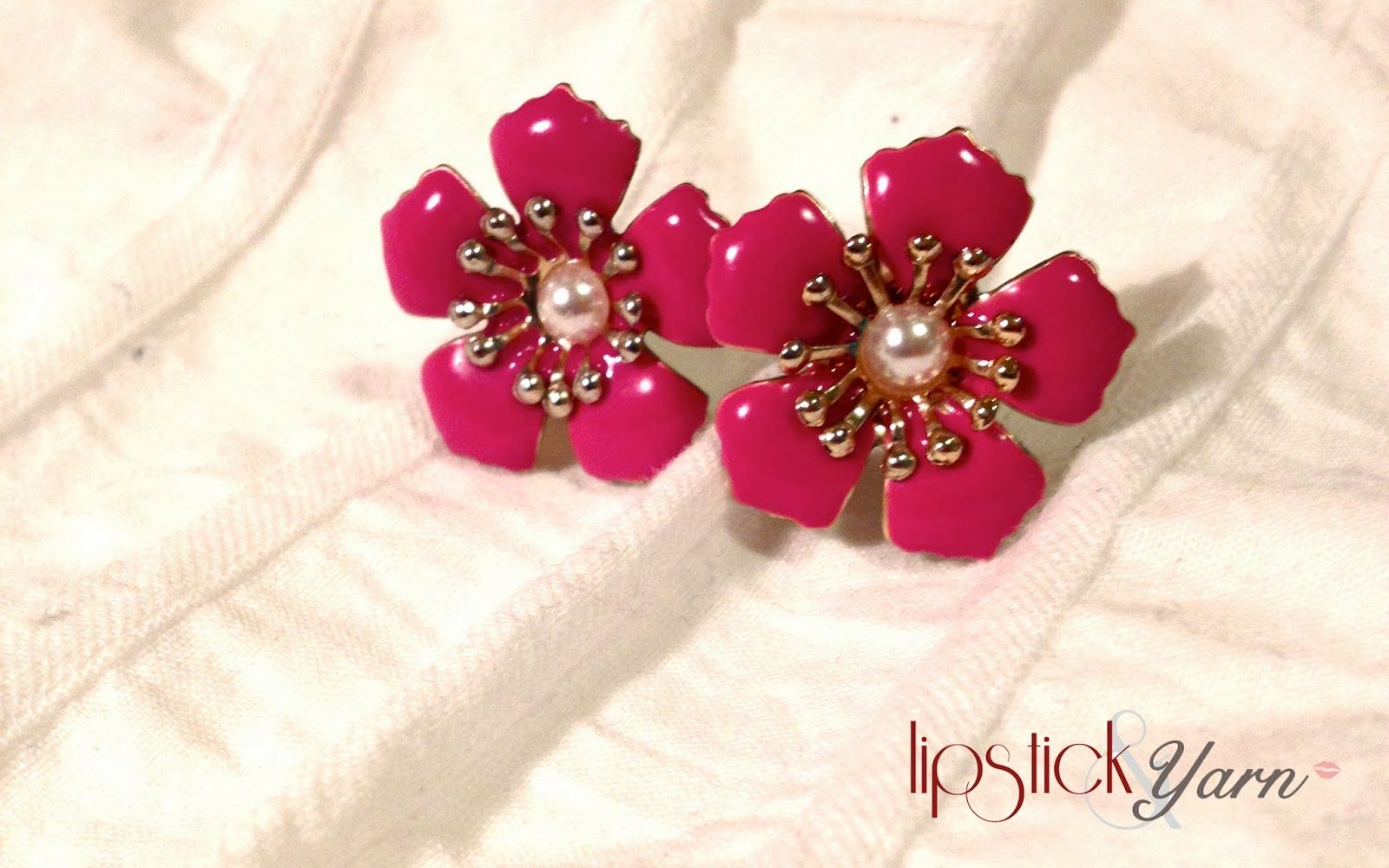 inch-wide pink flower studs. Dynamite clothing.  lipstickandyarn.blogspot.ca