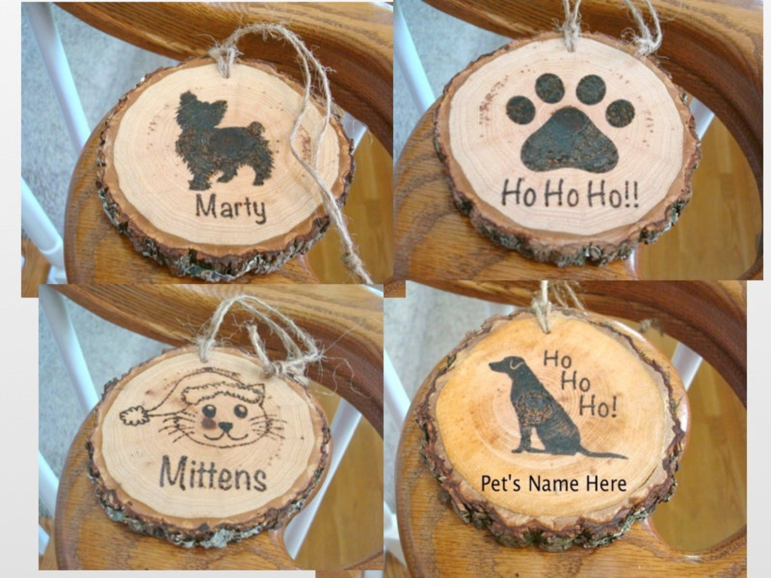 Personalized Pet Ornament Wood Slice Christmas Name Tag