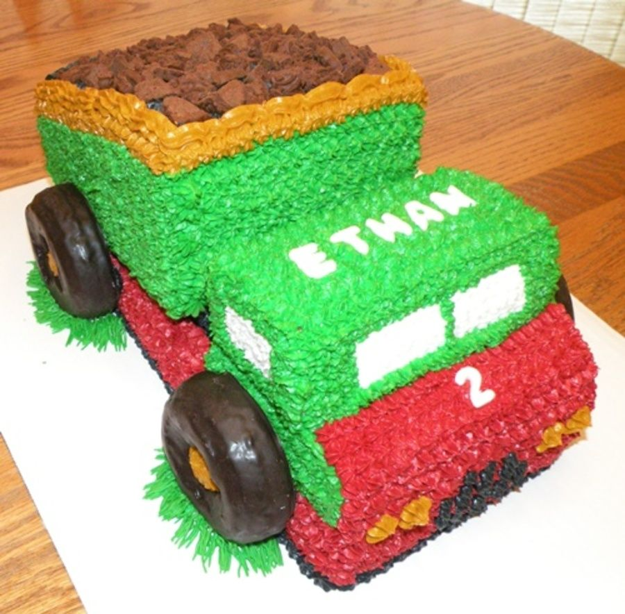 Dump Truck Birthday Cake This dump truck cake was made for a two