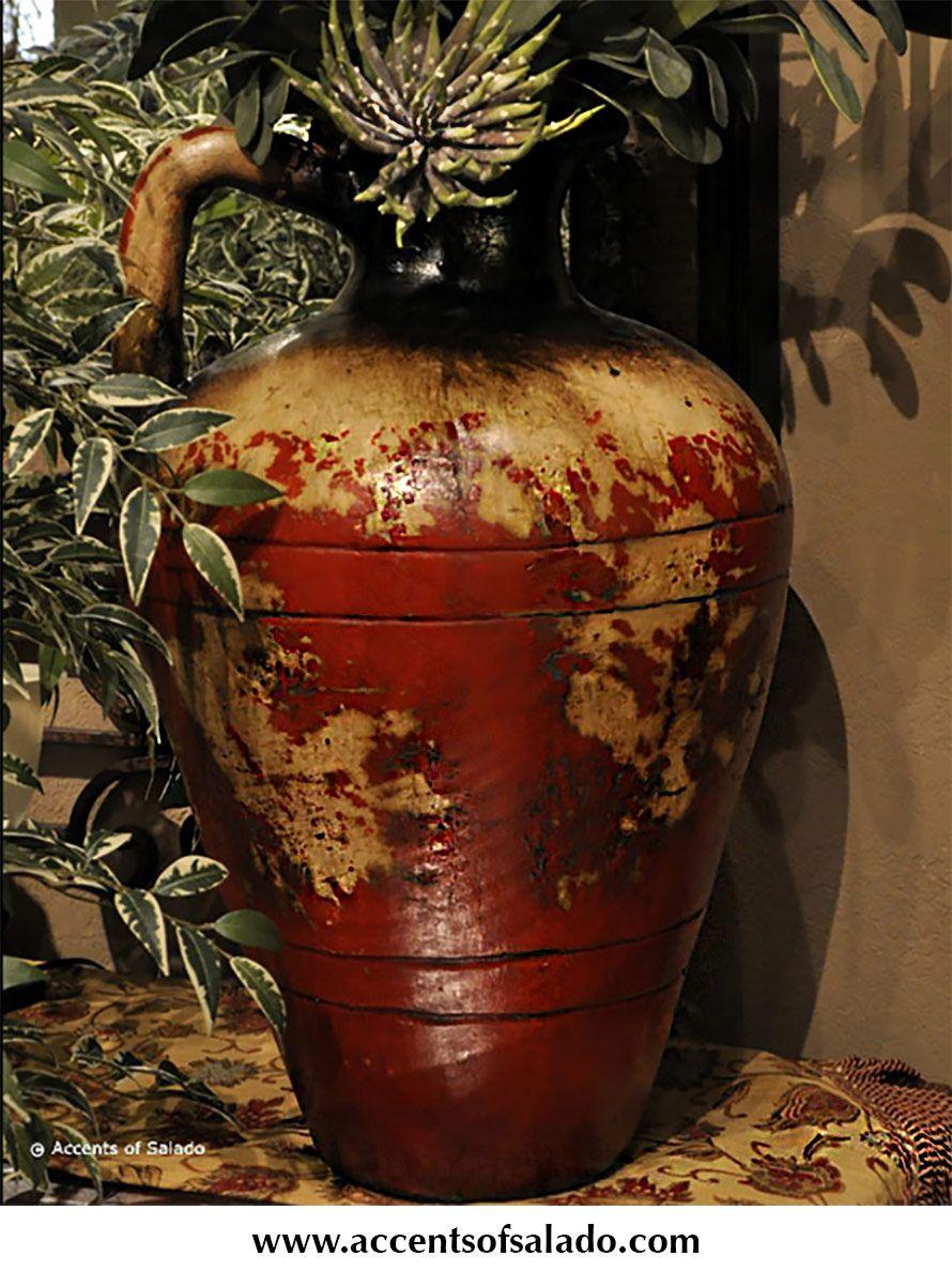 Tuscan Decor Alfresco Red Floor Vase at Accents of Salado