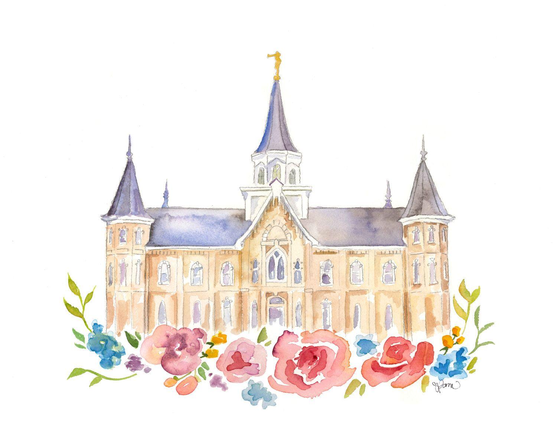 LDS Temple Watercolor Print (Provo City Center Temple), Provo Temple