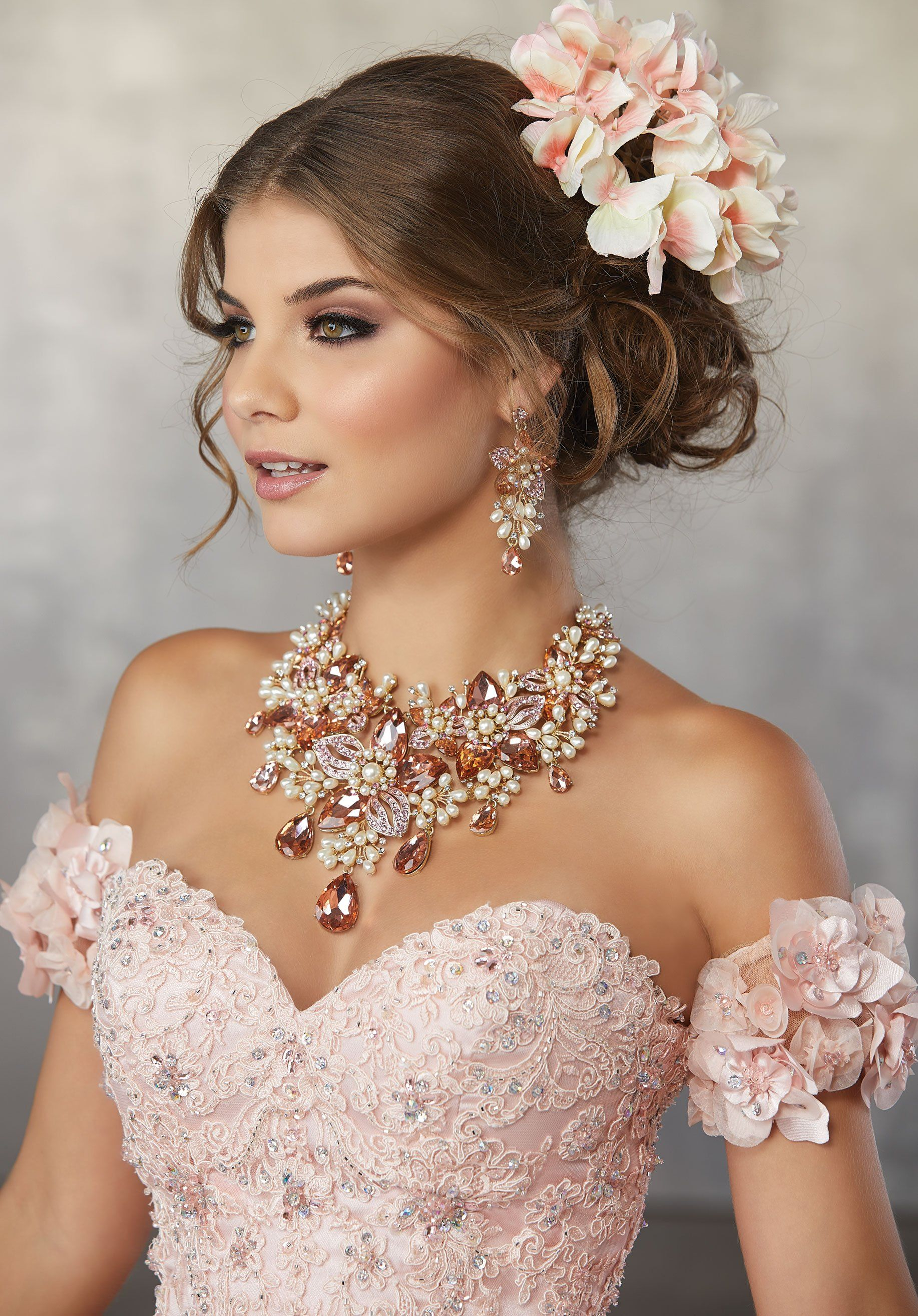 bcf220f685b 78063 Crystal Beaded Quinceanera Dress with Lace Appliqués and  Three-Dimensional Flowers