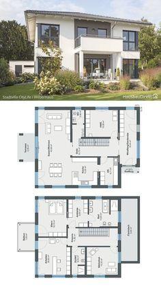 Stadtvilla CityLife modern mit Walmdach & Garage - | HausbauDirekt.de
