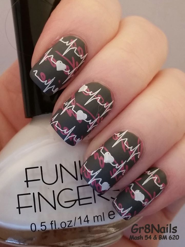 Valentine Nail Art with Mash and Bundle Monster stamping plates ...
