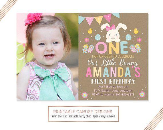 Pretty Floral Burlap Girls Children/'s Birthday Party Invitations