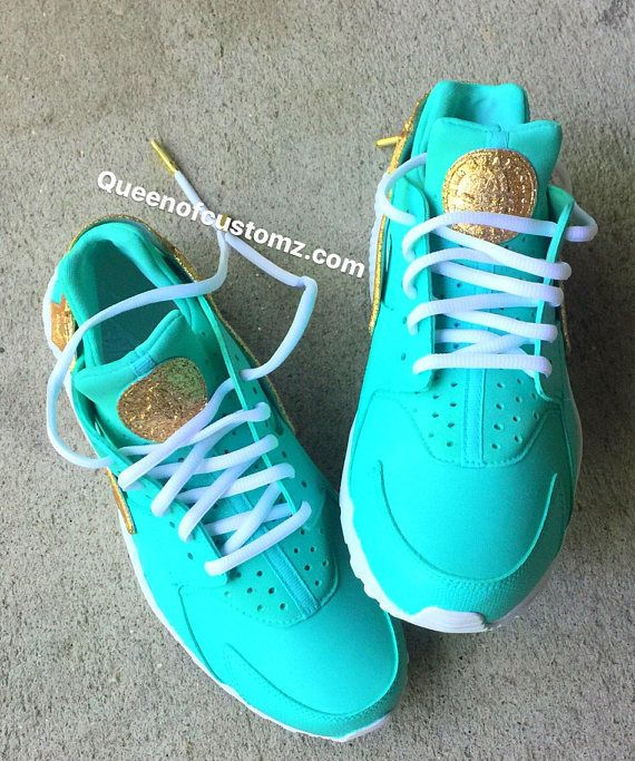 cheap for discount 2effc fe800 ... switzerland gold glitter and mint green nike huaraches custom white nike  huaraches authentic are used as