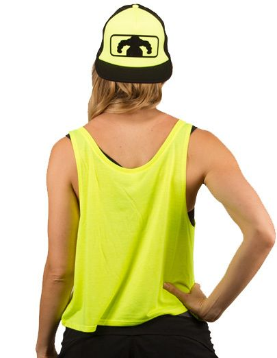 Women's College Flowy Crop Tank - Neon Yellow $25