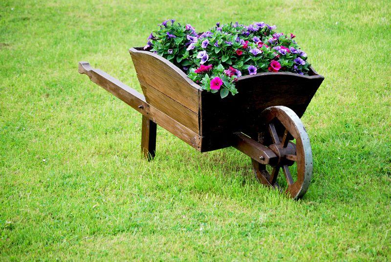 GARDEN MODERN WOODEN WHEEL BARROW PLANTER BURNT WOOD FLOWER CART ORNAMENTAL POT
