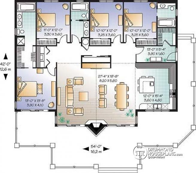 W3942 Lakefront house plan 4 bedrooms 3 bathrooms 2 master – Ranch Style House Plans With 2 Master Suites
