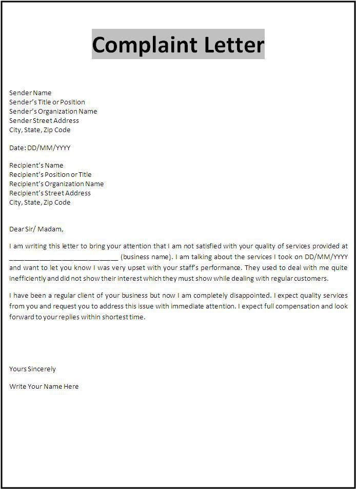 Complaint letter template important forms pinterest for Complaint letter to landlord template