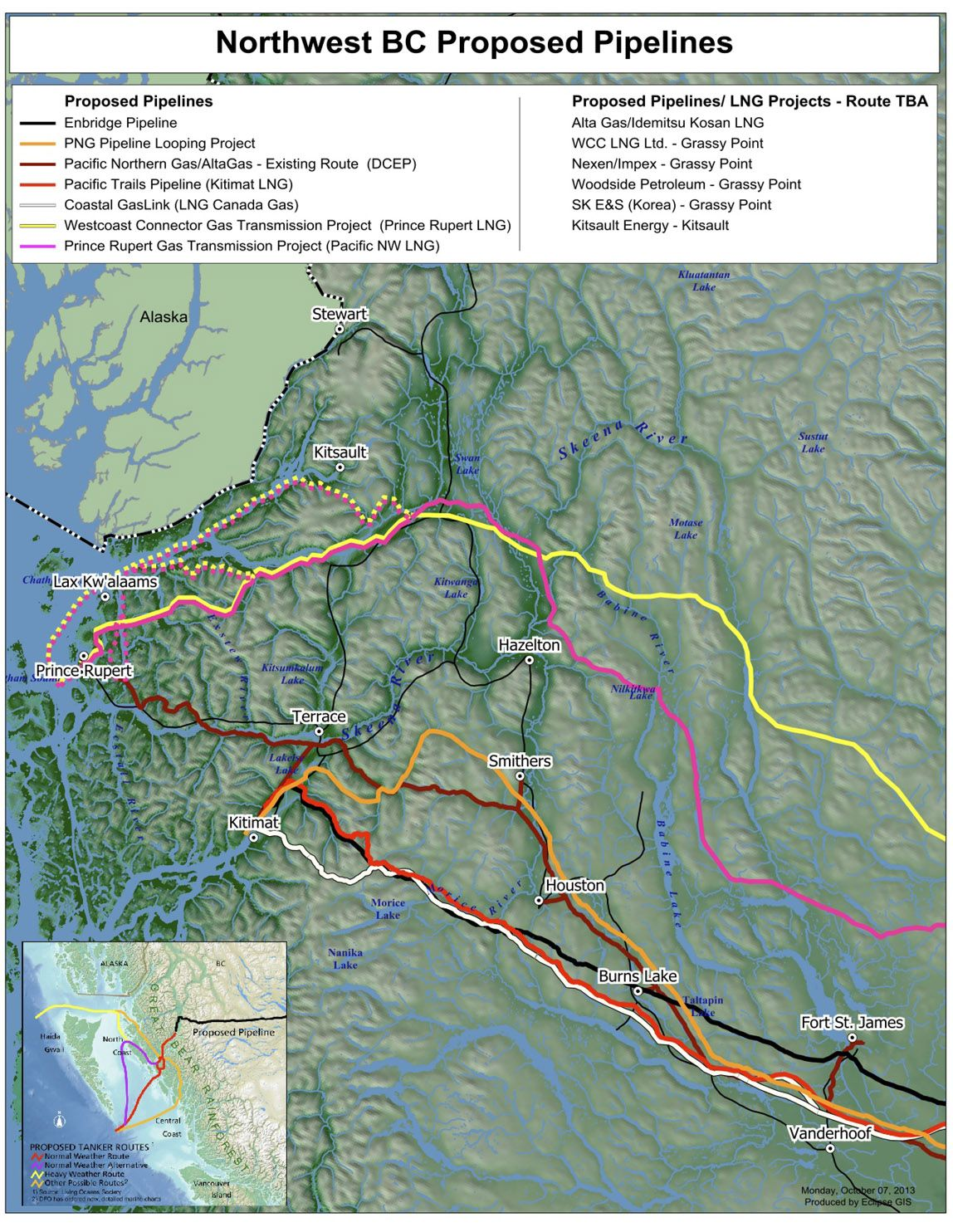 Map shows multiple proposed oil, gas pipelines for BC