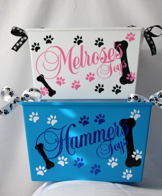Personalized Dog toy box Cat Pet Storage Bin by ShopElainesCrafts