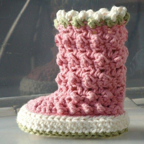 Crochet Pattern Baby Booties Raindrop Boots