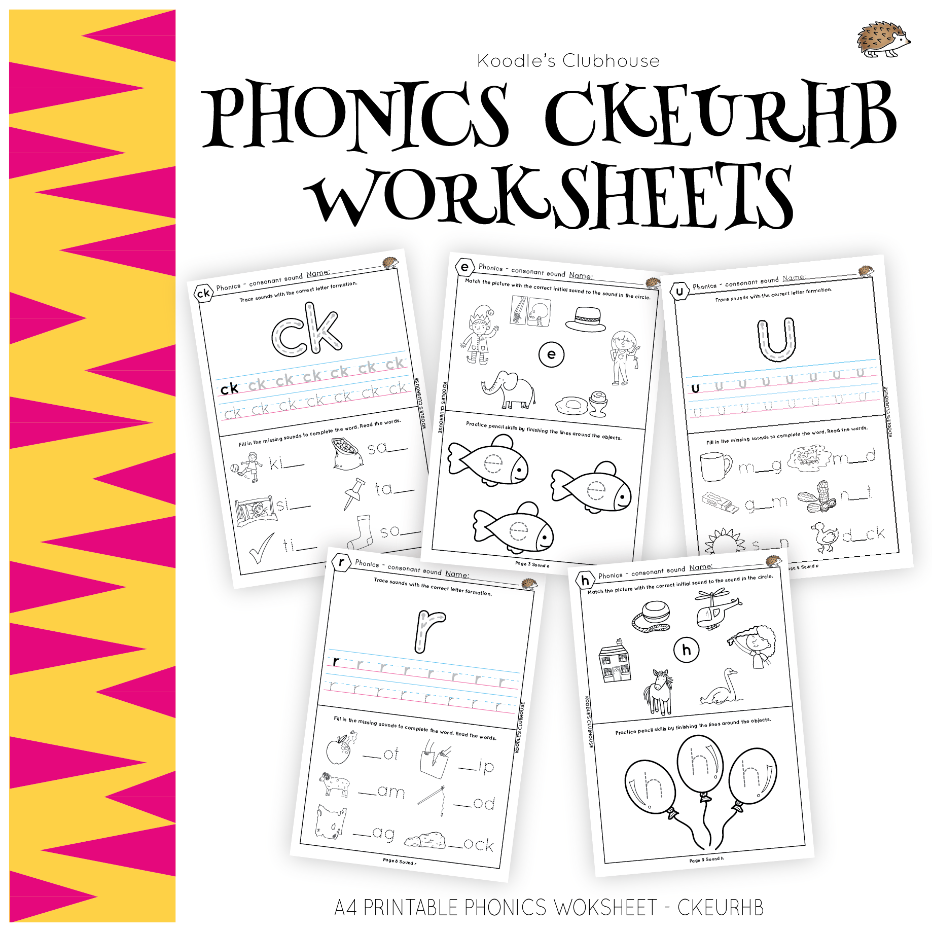 Phonics Ckeurhb Worksheets From Koodle S Clubhouse
