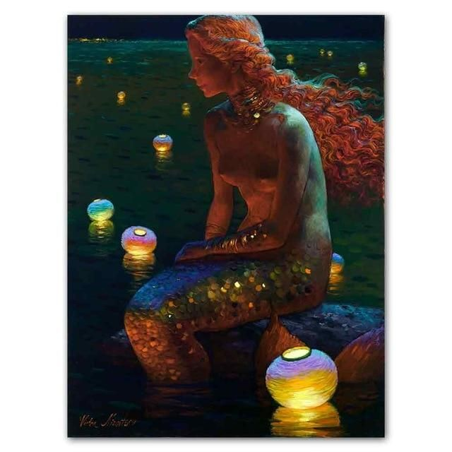 Photo of Mermaid Oil Painting Wall Art Fantasy Vintage Girl Picture Canvas Print For Sitting Room Living Room Adornment Art – 8x10inch no frame / jy0985