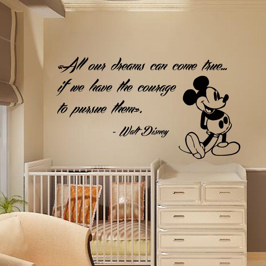 The Hallam Family Baby Room Ideas: Mickey Mouse Wall Decals Quote Dreams Art Vinyl Sticker