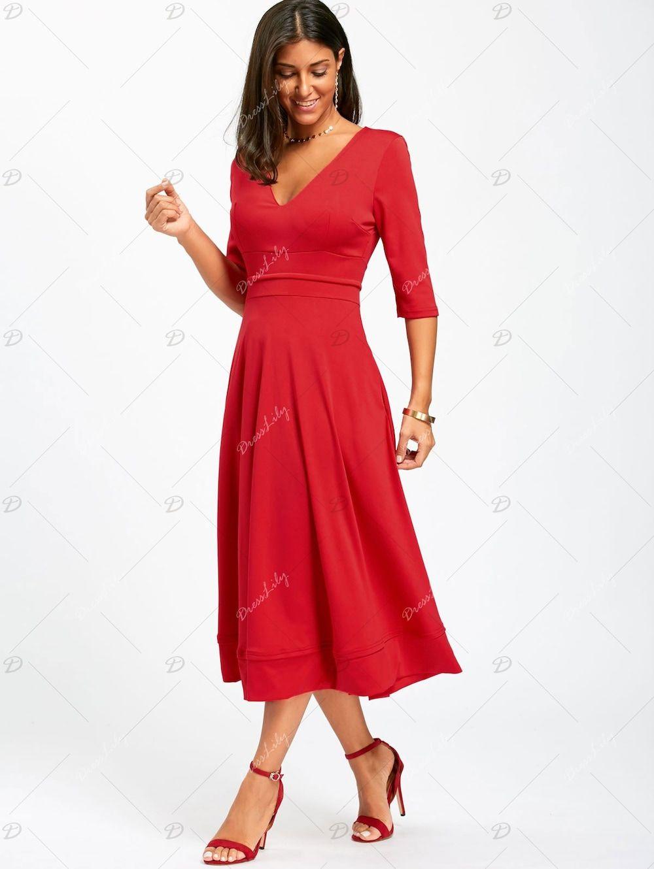 V Neck Fit And Flare Midi Dress Red Midi Dress Midi Dress Fit And Flare [ 1330 x 1000 Pixel ]
