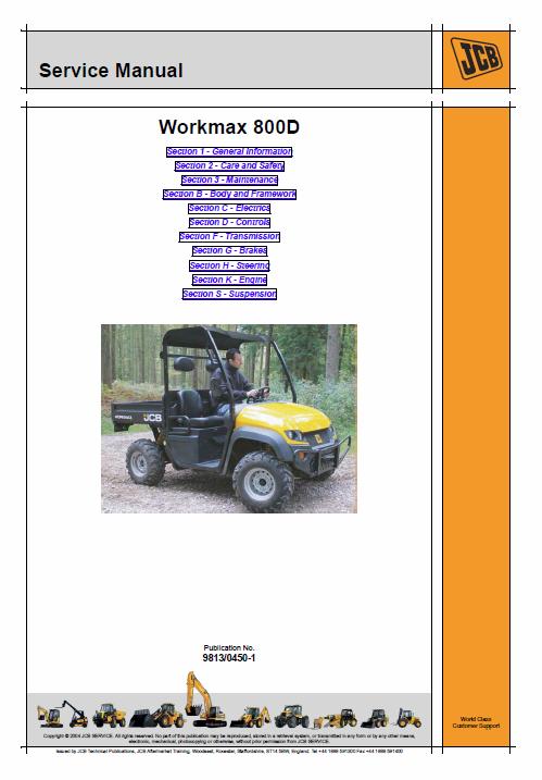 Jcb 800d Workmax Utility Vehicle Service Manual Vehicle Service Manuals Utility Vehicles Service