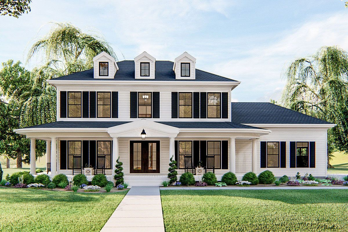 This 3-bed house plan reels you in with its fresh take on southern Colonial design. The exterior greets you with its trio of gables and a large front covered porch.As you enter the home you are greeted by a 2-story entry. To the right, you will find a formal dining room and on the left, behind French doors, a private study.Move towards the back of the home and you