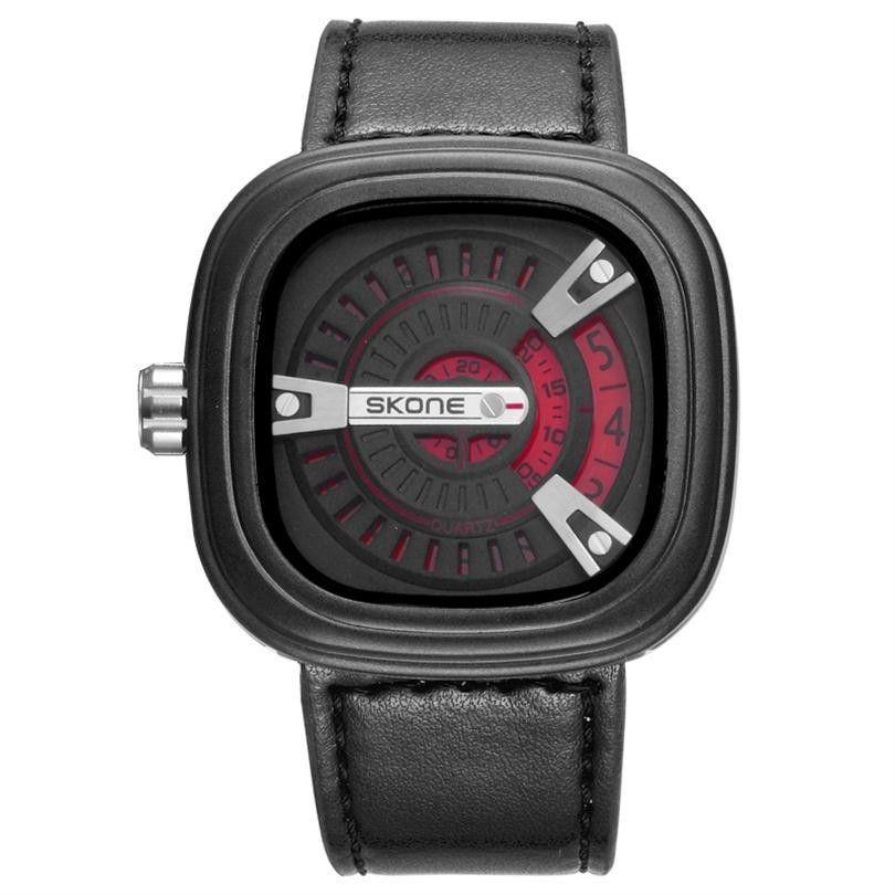 Memorable Analog Square Quartz Leather Wristwatch
