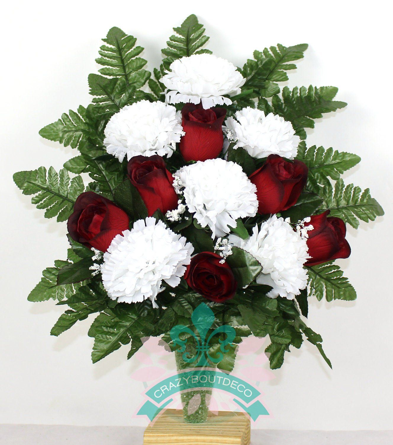 Gorgeous Roses And Carnations Cemetery Arrangement For Mausoleum