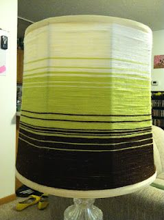 Yarn wrapped lampshade