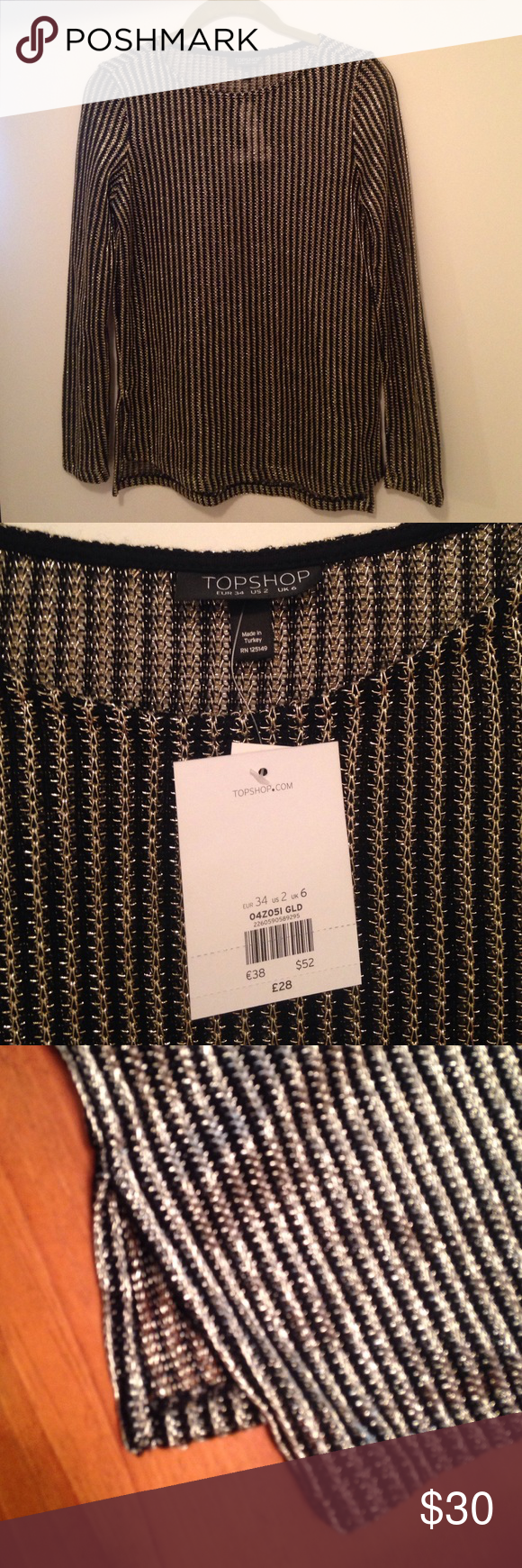 Topshop Black and Gold top NWT size 2 Black and gold chain mail top by topshop. NWT! Looks super cute over a black or nude bralette and features slits on the sides.  Size 2 which fits and XS/S. Offers are welcome! Topshop Tops