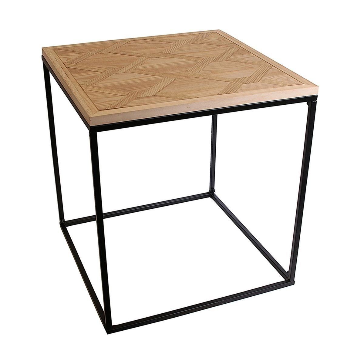 Table A Cafe En Bois Et Metal Industriel 48 X H 50 Cm Noir