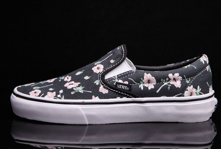24bc446dea Vans Flower Print Slip-On Black Women Skate Shoes  Vans