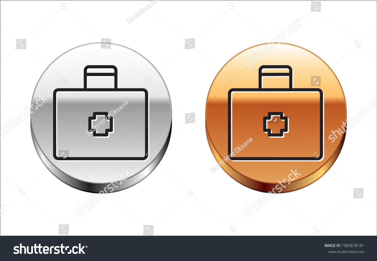 Black line first aid kit icon isolated on white background