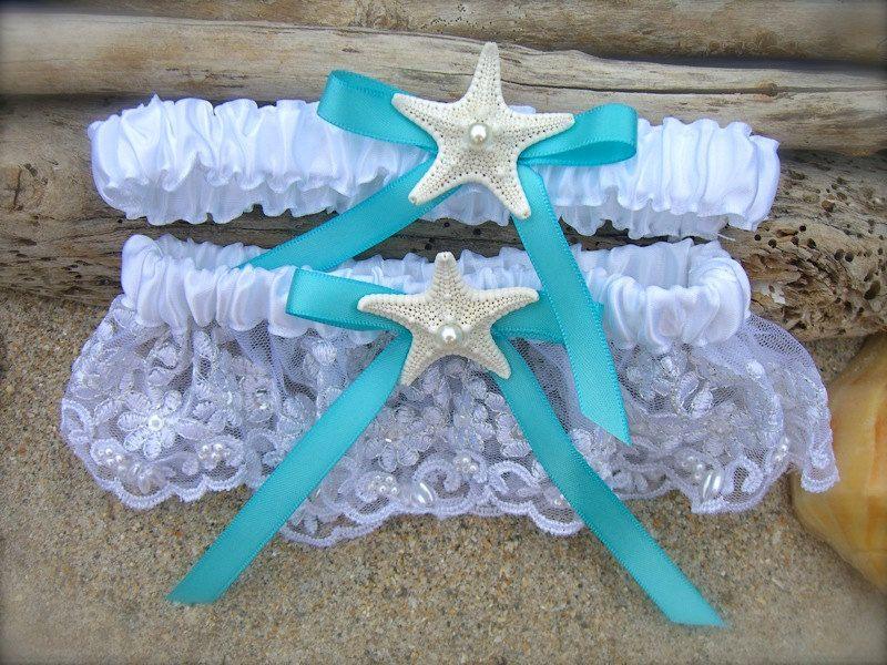 Beach Wedding Starfish Garter Set Something Tiffany Blue Coastal Weddings Destination