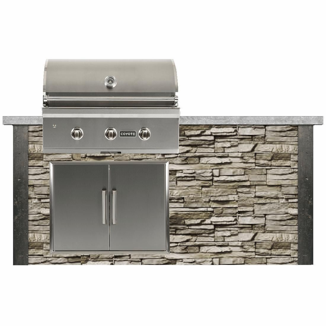 Coyote Ready To Assemble 6 Ft Outdoor Kitchen Island With 34 Inch C Series Natural Gas Grill Ships As Propane With Conversion Fittings Stacked Stone Stone G Outdoor Kitchen Island Outdoor Kitchen Natural Gas Grill